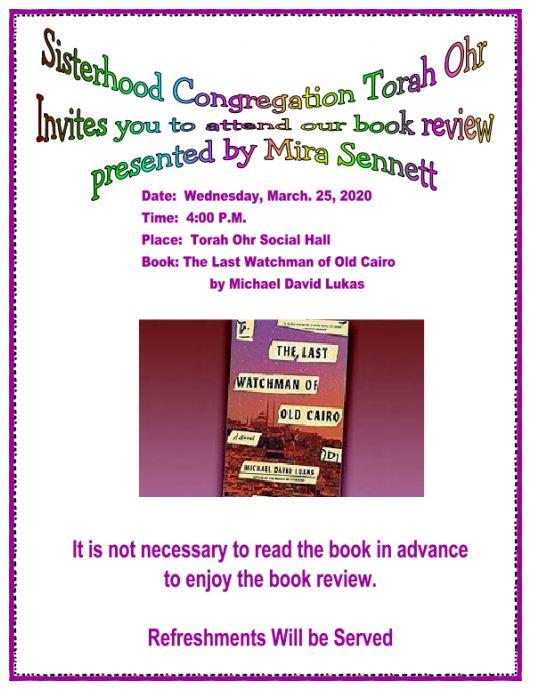 """<a href=""""https://images.shulcloud.com/590/uploads/5780/Sisterhood/2020-03-18BookReviewLastWatchmanofOldCairo.PDF""""                                     target=""""_blank"""">                                                                 <span class=""""slider_title"""">                                     Book Review with Mira Sennett - 3/25/2020                                </span>                                                                 </a>"""