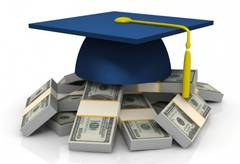 A mortar board resting on a pile of cash