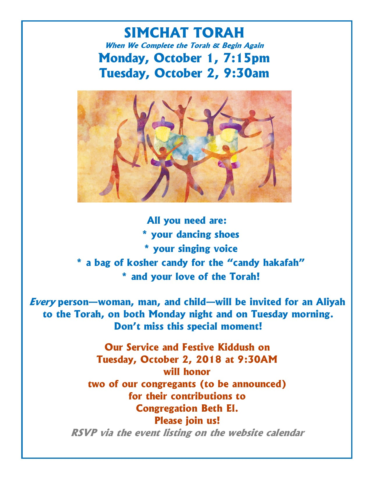 Holiday Information - Congregation Beth El