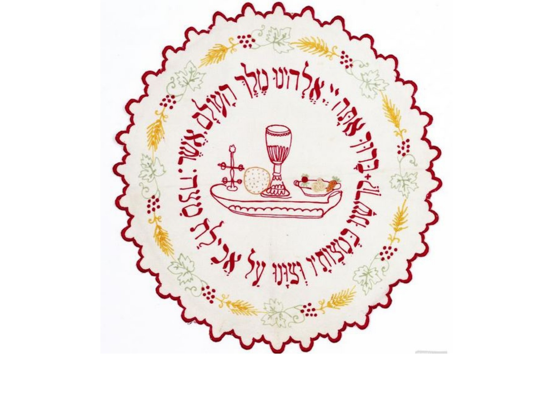 "<span class=""slider_description"">6 of 7. A delicately embroidered matzah cover from Bohemia, late 1800. Jewish Museum Prague.</span>"