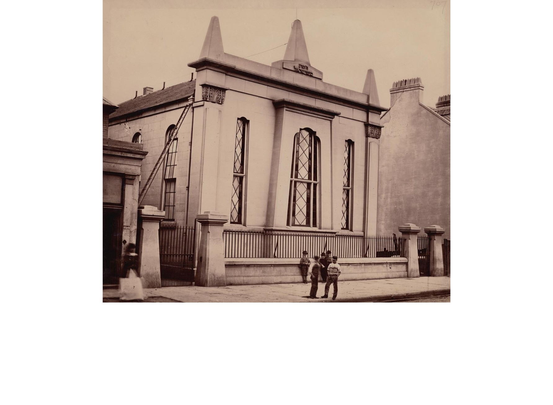 """<span class=""""slider_description"""">2 of 6. A rare 1870s photograph of Australia's oldest synagogue, the 'York Street Synagogue' in Sydney which stood near the Town Hall until 1878. No interior photo is known.</span>"""