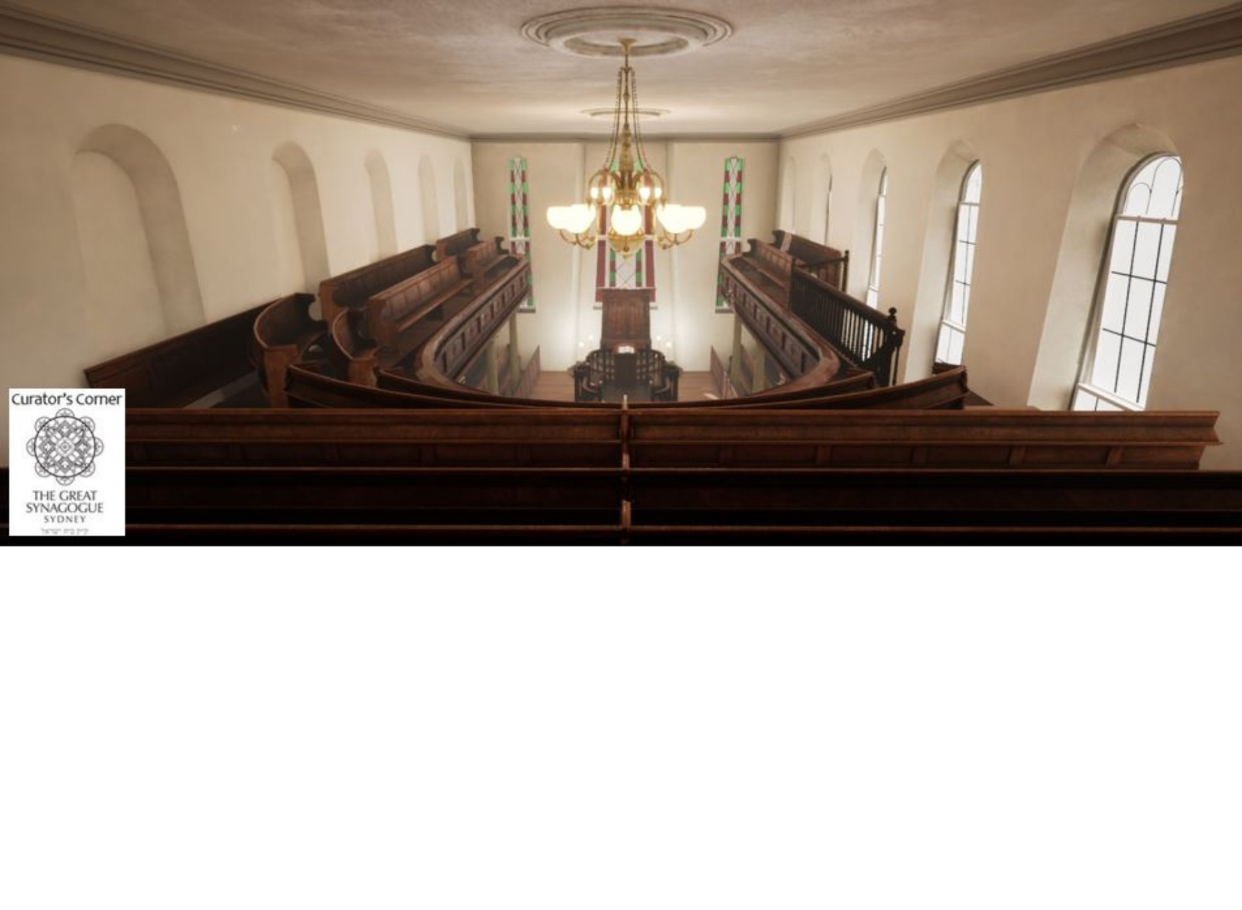 """<span class=""""slider_description"""">1 of 6. Virtual reconstruction of the view from the back of the women's gallery.</span>"""