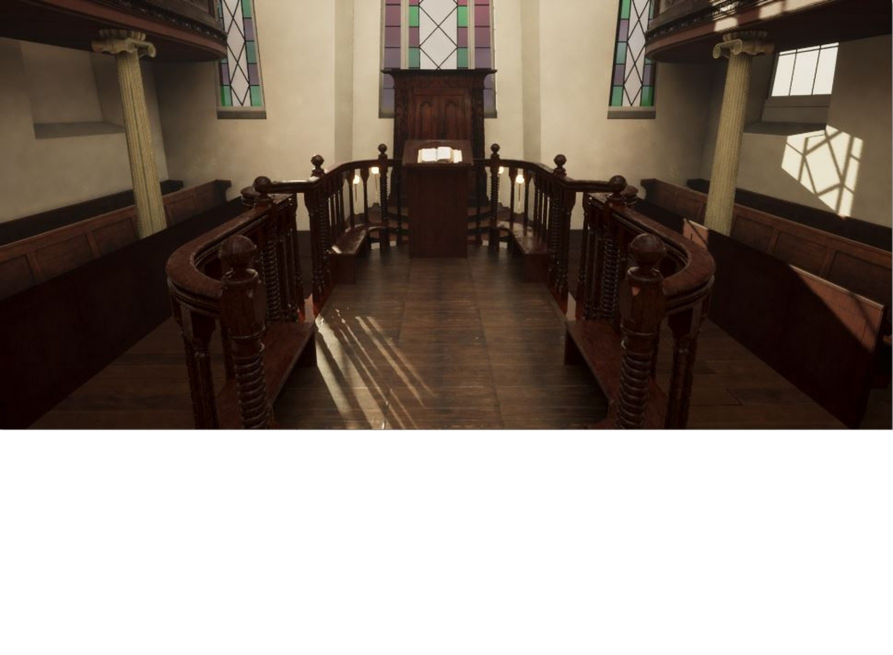 """<span class=""""slider_description"""">4 of 6. Virtual reconstruction of central bimah facing the Ark – now in The Great Synagogue's Rosenblum Jewish Museum.</span>"""