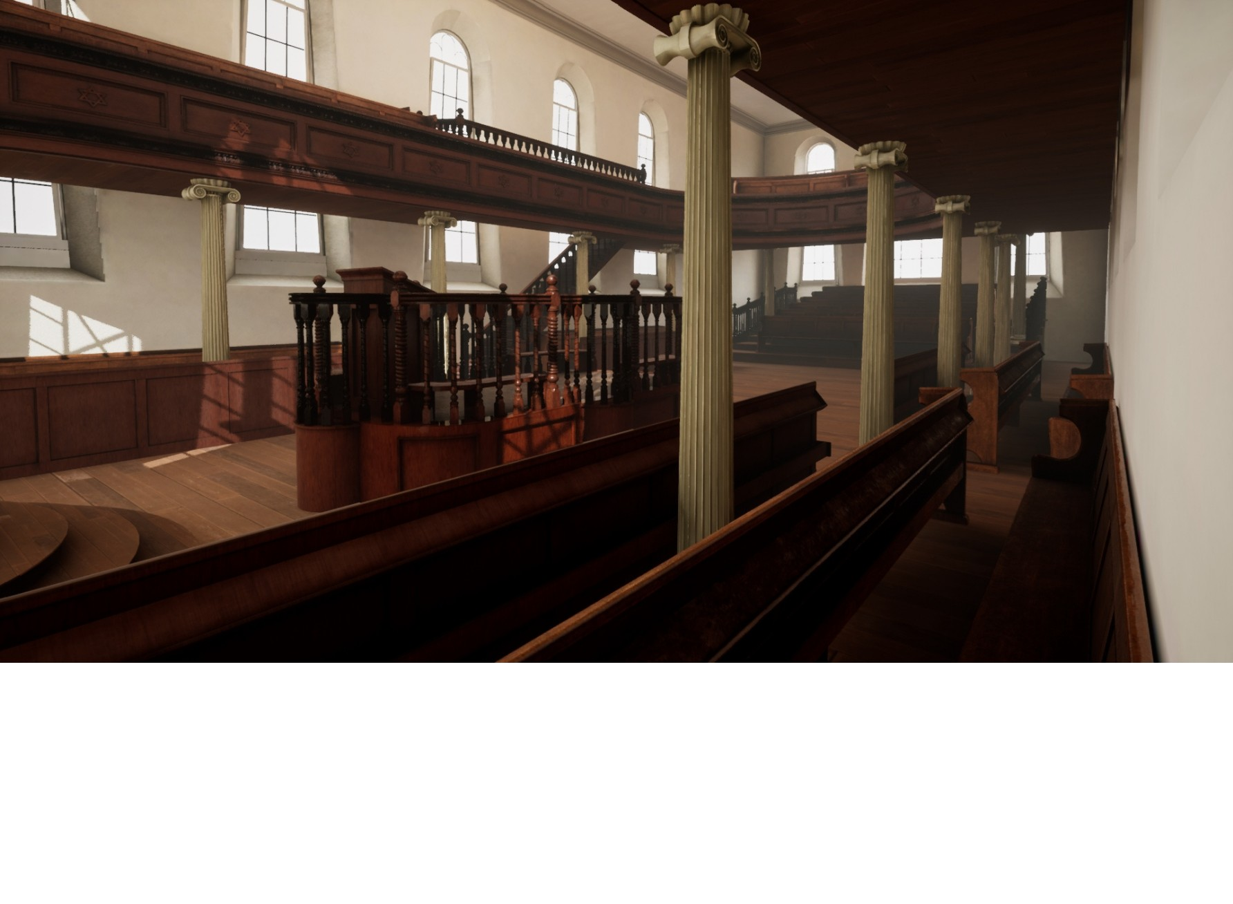 """<span class=""""slider_description"""">3 of 6. After finding old newspapers' clippings and old architectural plans, a 3D virtual interior of the synagogue started to emerge.</span>"""