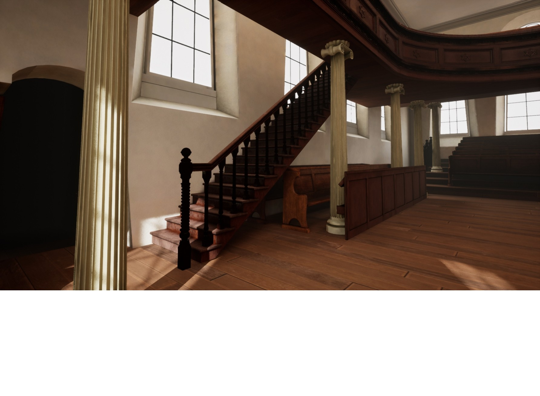"""<span class=""""slider_description"""">5 of 6. Virtual reconstruction of the stairs leading to the ladies' gallery.</span>"""