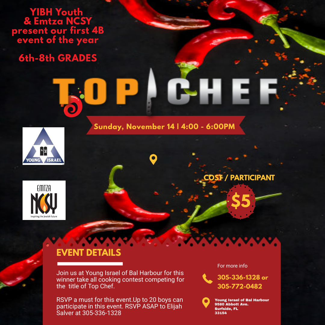 Banner Image for YICBH & Emtza NCSY Top Chef Cooking Contest, 4B 6th-8th grades