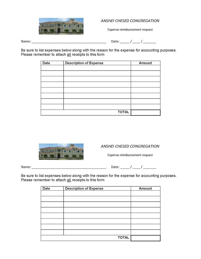 Expense Reimbursement Form Anshei Chesed Congregation