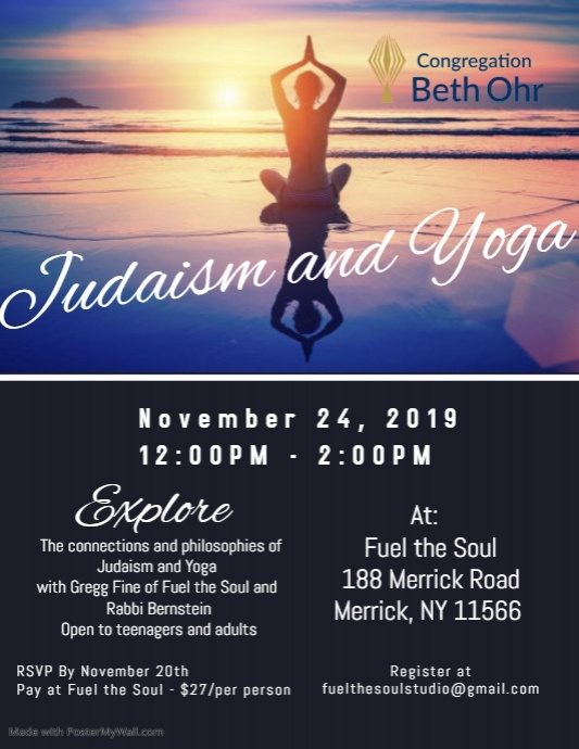 Judaism and Yoga  at Fuel the Soul (Merrick)