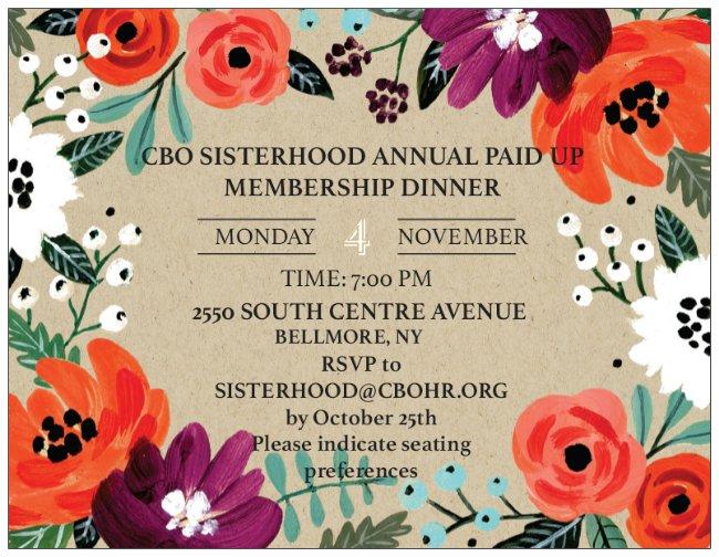 Sisterhood Paid Up Membership Dinner