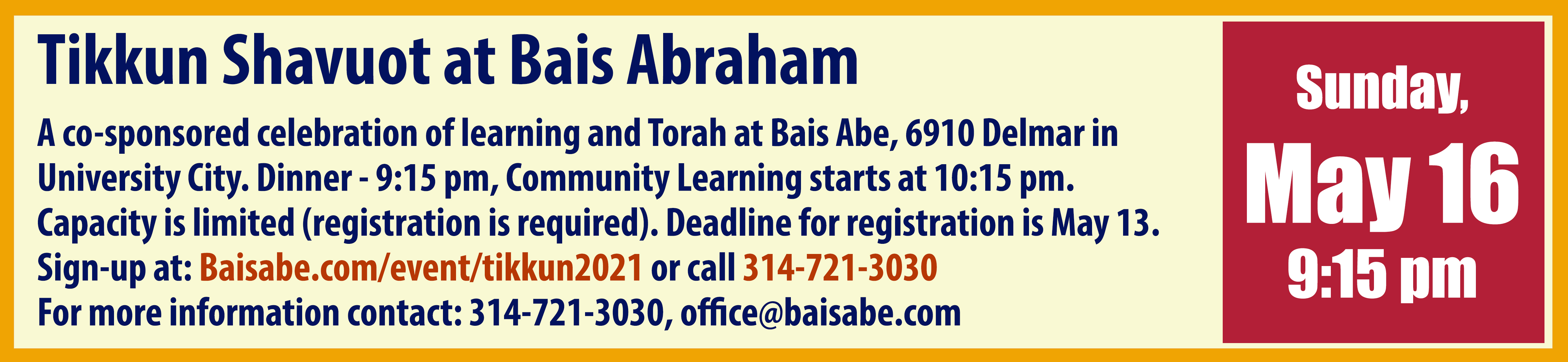 Tikkun Shavuot at Bais Abraham: A Celebration of Torah Learning