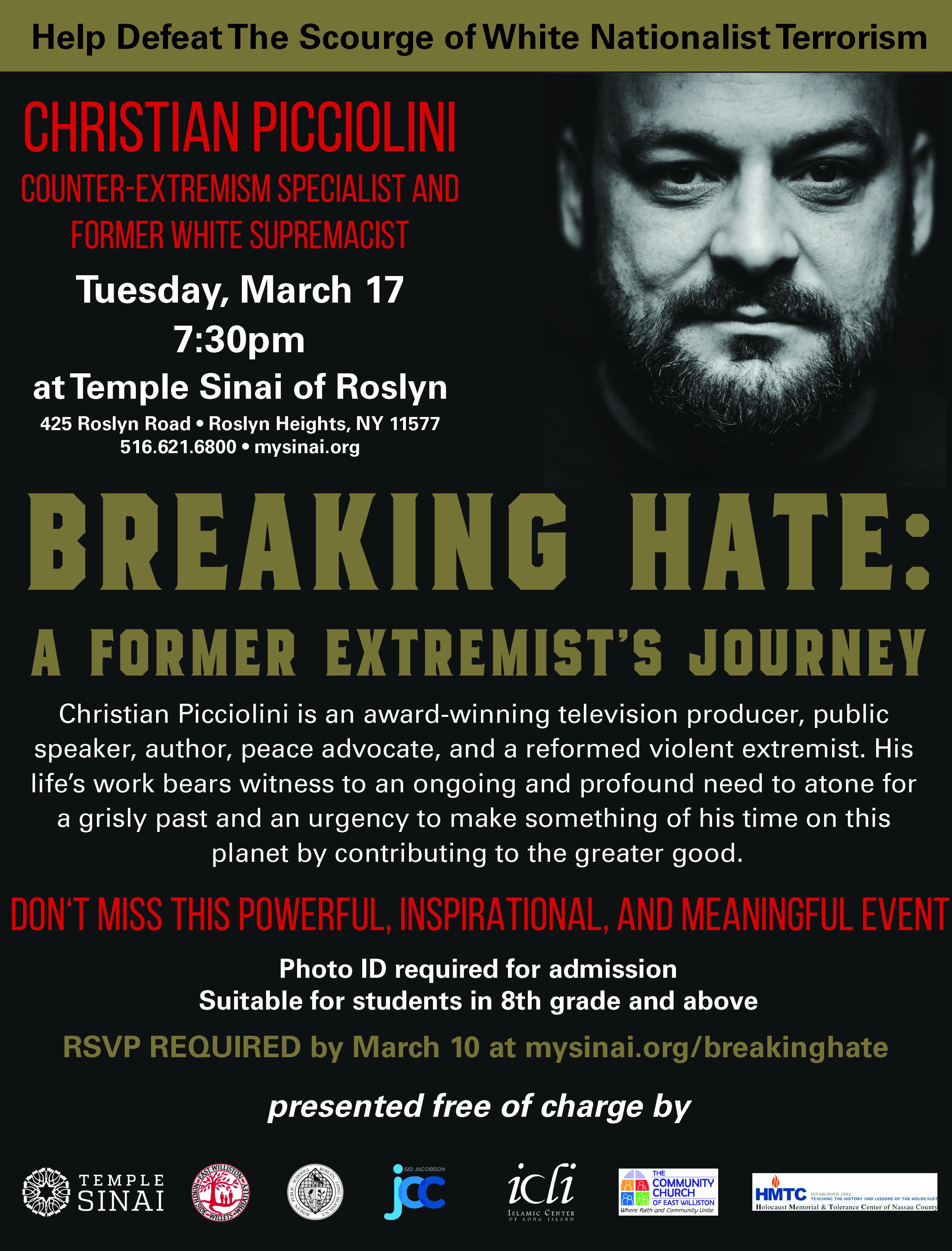 Banner Image for POSTPONED Adult Engagement Speaker - Christian Picciolini: Breaking Hate