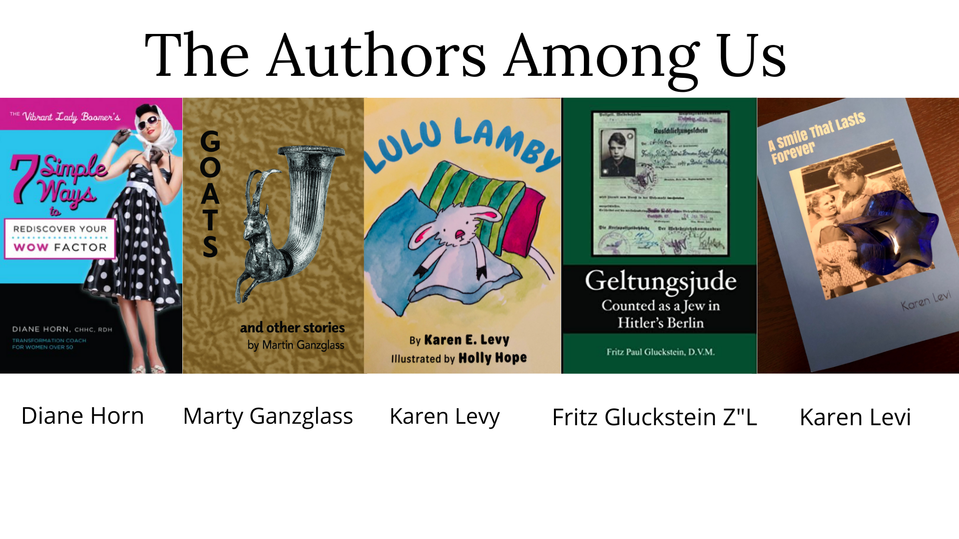 """<a href=""""https://www.bethesdajewish.org/authors""""                                     target=""""_blank"""">                                                                 <span class=""""slider_title"""">                                     The Authors Among Us                                </span>                                                                 </a>                                                                                                                                                                                       <span class=""""slider_description"""">Show your support for our BJC authors! Congratulations to Karen Levi, Diane Horn, Marty Ganzglass, Karen Levy and the late Fritz Gluckstein. Click to learn more and purchase copies.</span>"""