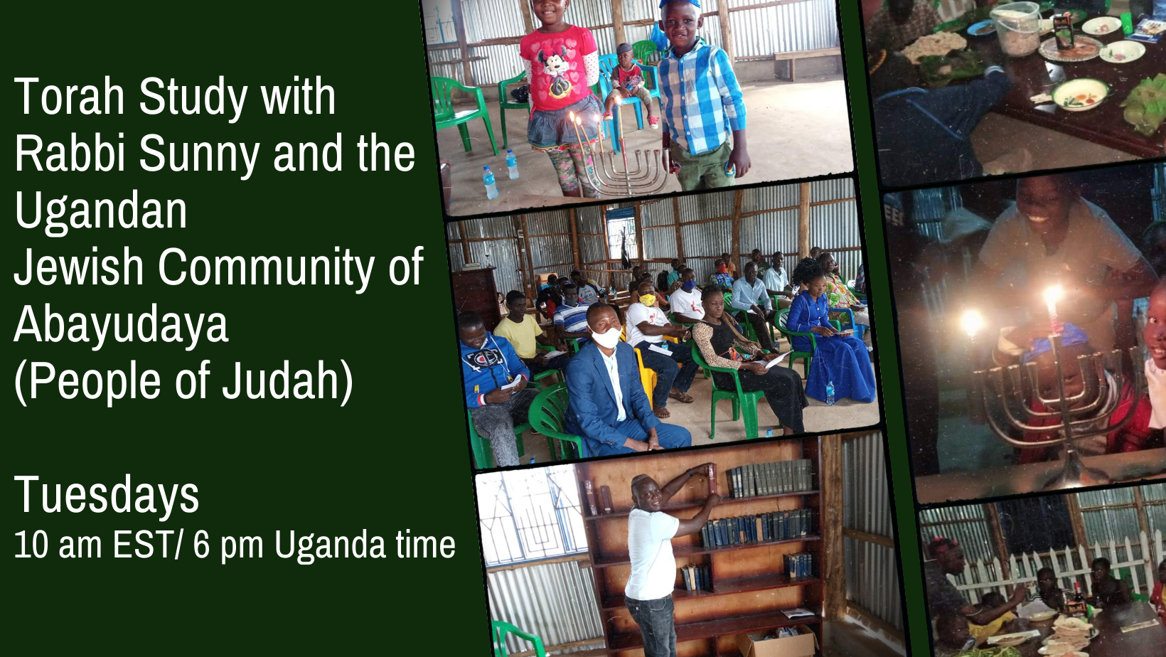 """<span class=""""slider_description"""">Join Rabbi Sunny weekly for Torah Study with congregation in Uganda.  Link in BJC Now.</span>"""