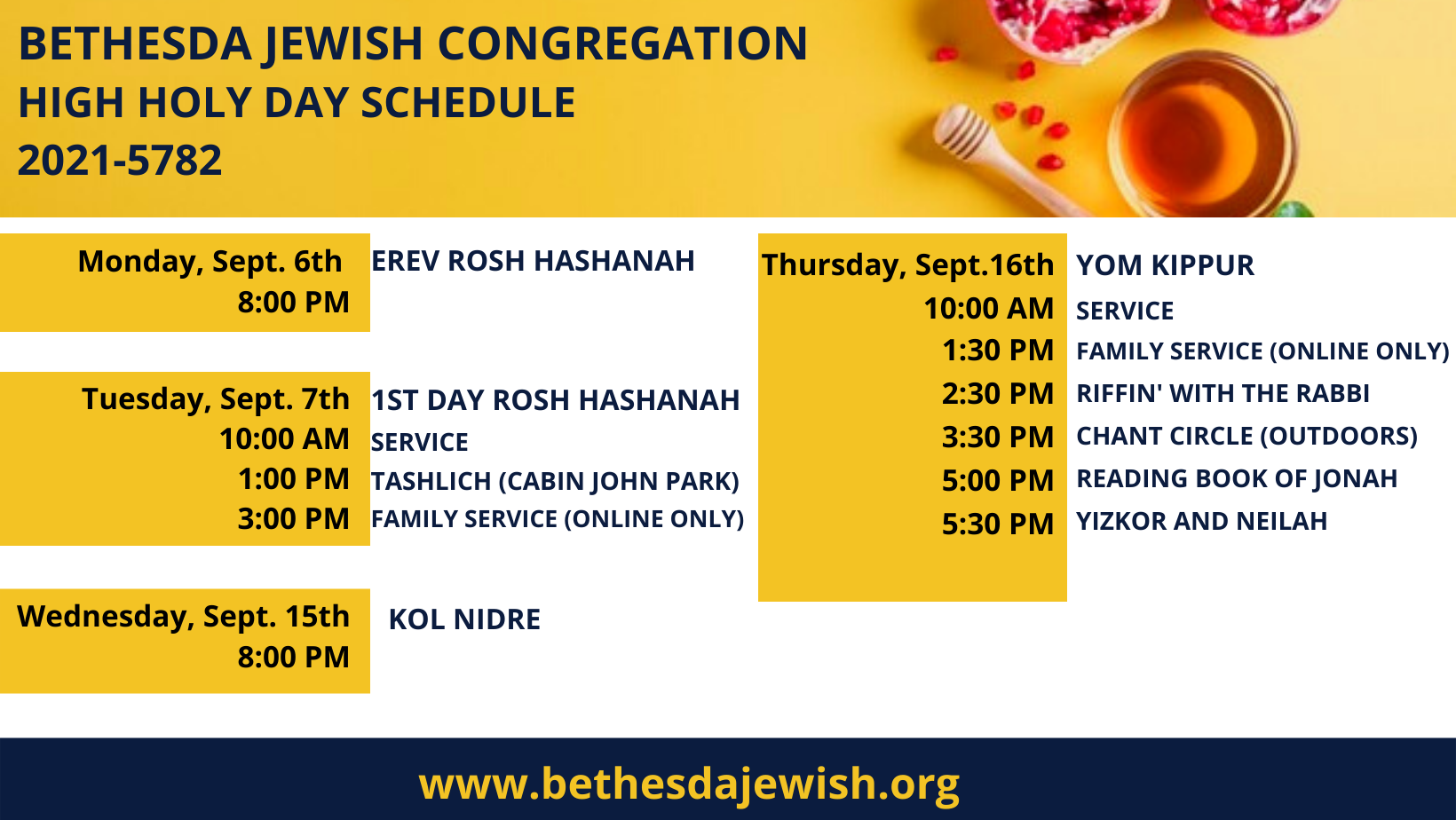 """<a href=""""https://www.bethesdajewish.org/form/high-holy-days-tickets-nm.html""""                                     target=""""_blank"""">                                                                 <span class=""""slider_title"""">                                     High Holy Days Schedule 2021                                </span>                                                                 </a>                                                                                                                                                                                       <span class=""""slider_description"""">Full list of times for High Holy Days at BJC. Come pray with us! Tickets are available for purchase. Services will also be livestreamed.  We are looking foward to meaningful-and safe- High Holy Days.</span>"""