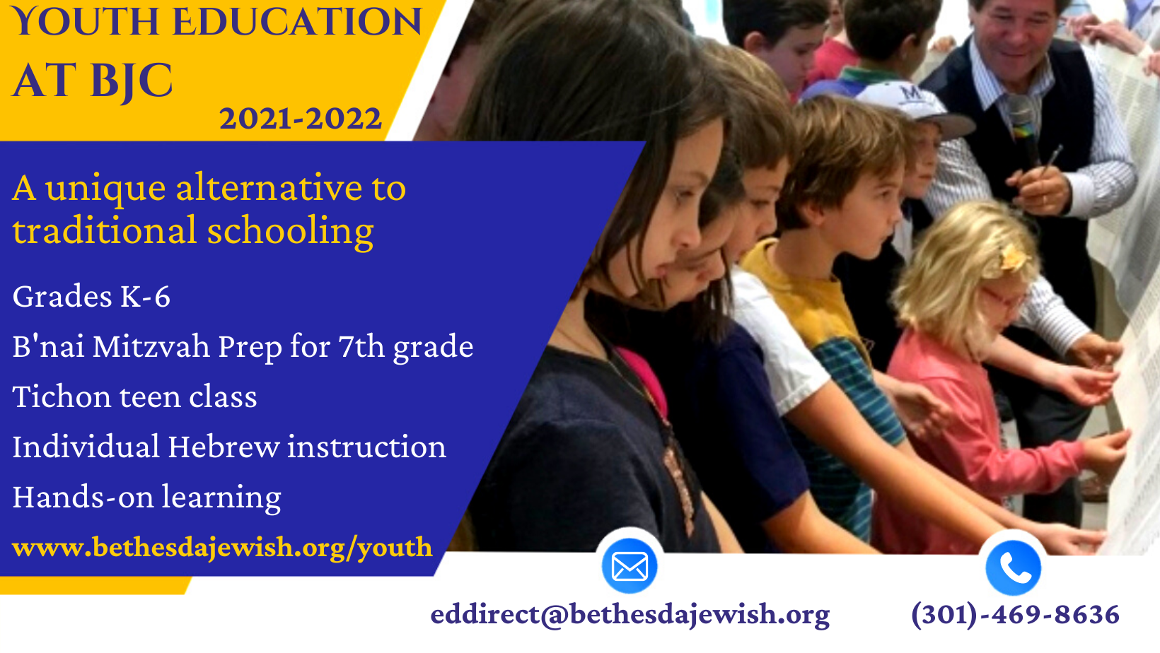 """<a href=""""https://www.bethesdajewish.org/form/youth-education-registration.html""""                                     target=""""_blank"""">                                                                 <span class=""""slider_title"""">                                     BJC Youth Education is now open for Registration!                                </span>                                                                 </a>                                                                                                                                                                                       <span class=""""slider_description"""">Led by our warm and dedicated staff, BJC's program includes activity based learning and one-on-one Hebrew lessons. Synagogue membership is included in school tuition for new families.  With a program built for parents with busy schedules, and using a hands-on approach, BJC provides a Jewish education in a fun and engaging way.  Classes begin in October.</span>"""