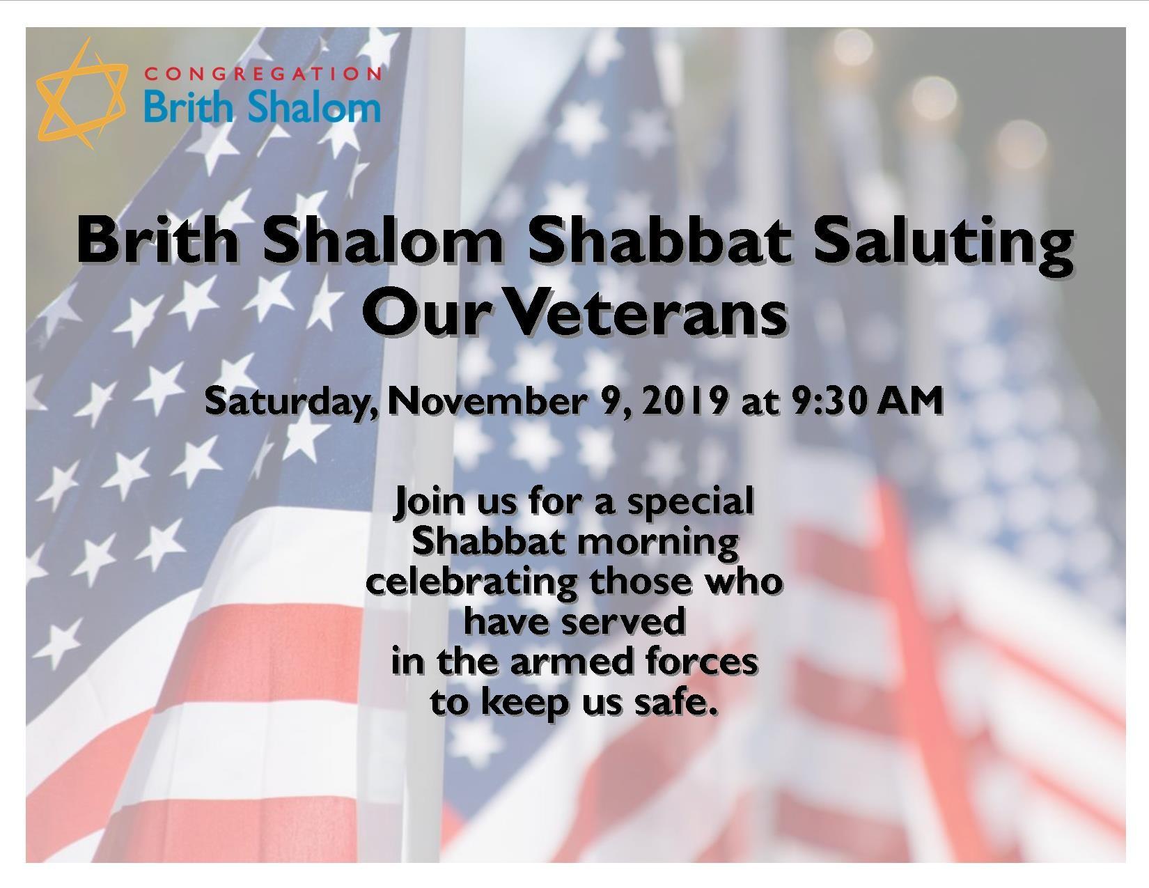 Banner Image for Shabbat Saluting Our Veterans