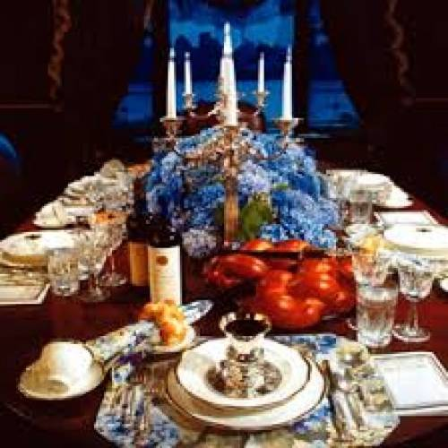 Shabbat Table set with plates and candles