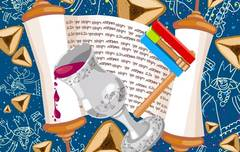 cartoon drawing of megillah with wine cup and hamataschen