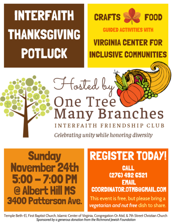 Religious School News Interfaith Thanksgiving Potluck 2nd